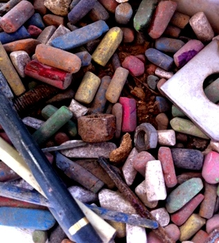 box of old chalks